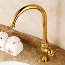 Роскошные Бассейнового Водного Смеситель Латунь Однорычажный Высокой Дуге Кухонная Раковина Кран с Поворотным Изливом, Titanium Gold