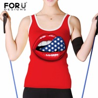 FORUDESIGNS Sexy Woman Summer Tank Top Woman Cropped Feminina Shirt Tops 3D Red Lips Vest ONeck