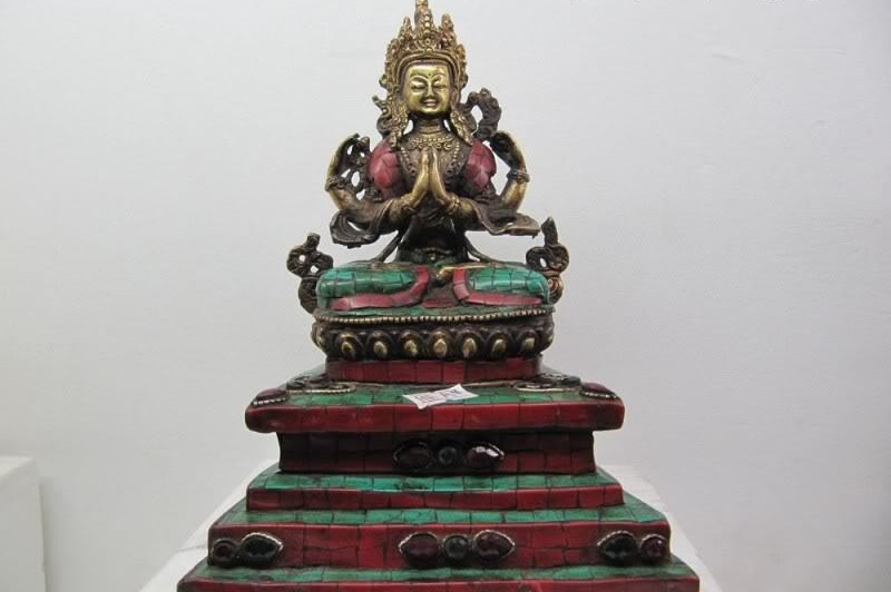 "8.5""Tibet Pure Bronze inlay beryl turquoise coral Four Arm Hands Kwan Yin Buddha
