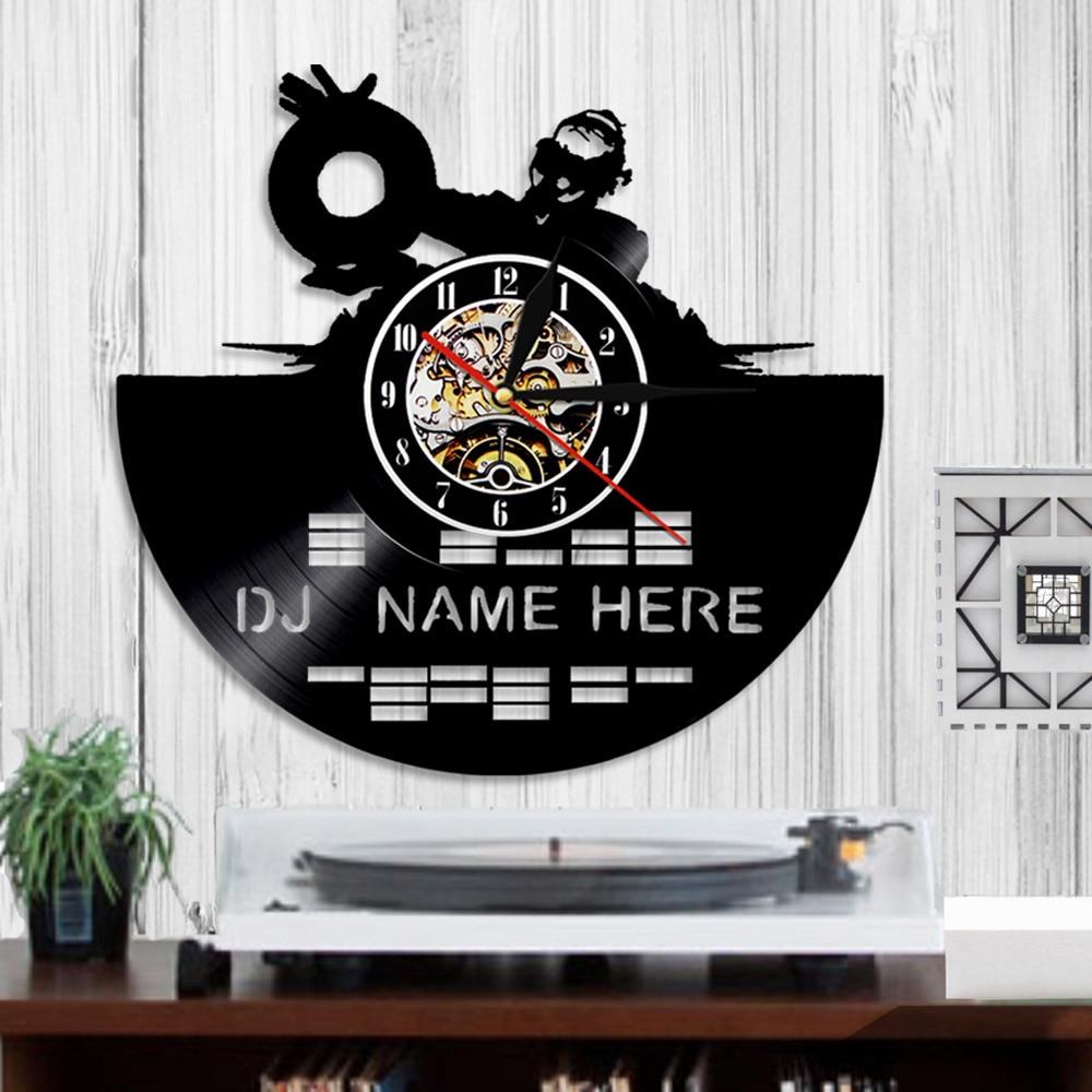 1piece Dj Vinyl Record Wall Clock Laser Etched Handmade Disco Art