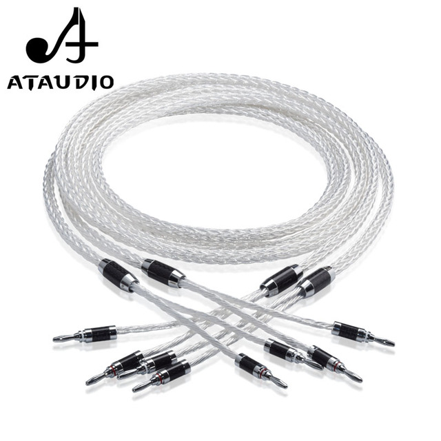 ATAUDIO 8ag Pure Silver plated OCC Hifi Speaker Cable Hi end Speaker Wire for Amplifier and CD