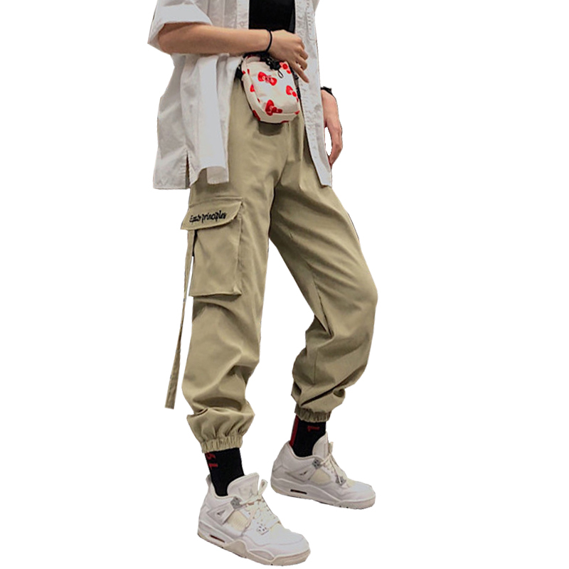 Tangoalfresco Offerte 2018 Harajuku Streetwear Pantaloni Cargo Donne A Vita Alta Ricamo Tasche Dei Delle Allentate Hip Hop Harem Pantalon Mujer Economici Prezzo Online