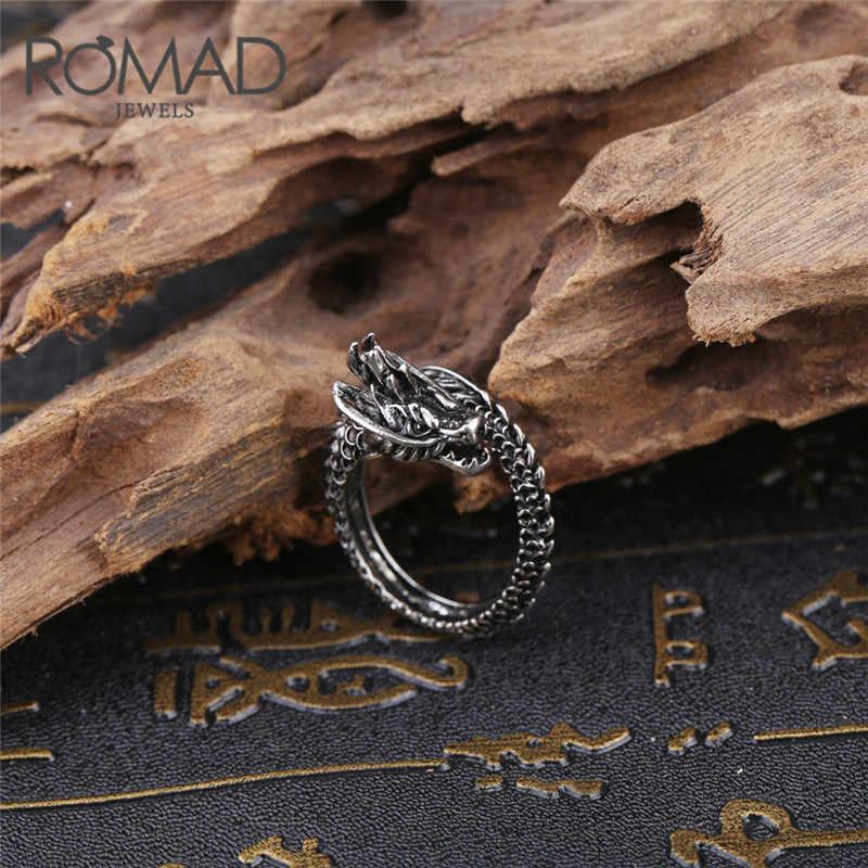 ROMAD Homens Anel Punk anel Ajustável Anel de Dedo Dragão Chinês de Prata Preto de Aço Inoxidável dos homens Jóias Hip Hop Partido anel R4