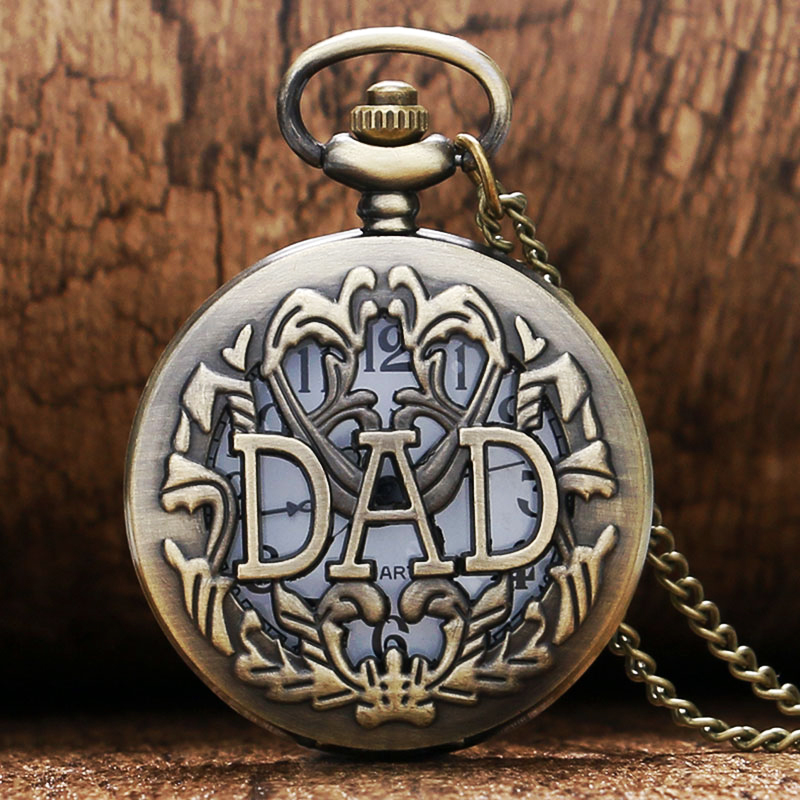 2020 New Arrival Vintage Antique DAD Carving Graved Design Quartz Hollow Pocket Watch Bronze Men Pappy Father Dad Birthday Gift