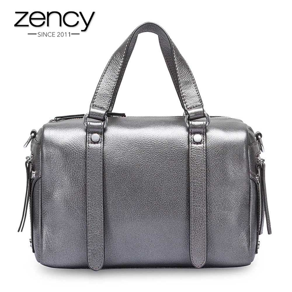 Zency Fashion Women Tote Bag 100% Genuine Leather Handbag Bronze Elegant Lady Shoulder Crossbody Purse Luxury Messenger Bags roberto collina накидка