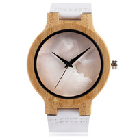Elegant Wooden Watches Ladies White Leather Strap Marble Pattern Face Creative Nature Wood Wrist Watch Women