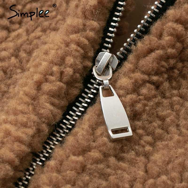 Пушистая женская шуба Simplee, простая толстая пушистая куртка из искусственного меха, повседневная плюшевая верхняя одежда большого размера на осень и зиму