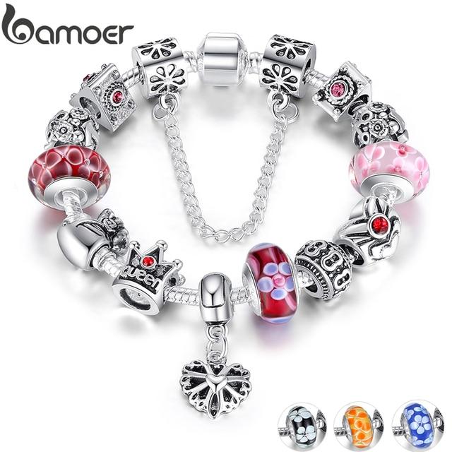 BAMOER ювелирные изделия с королевой серебряный браслет с шармами и браслеты с queen бусины в виде корон браслет для Для женщин Юбилейная продажа 2018 PA1823