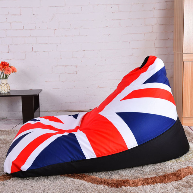 LEVMOON Beanbag Sofa Chair UK Flag Seat Zac Comfort Bean Bag Bed Cover Without Filling Cotton Indoor Beanbags Lounge Chair
