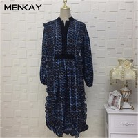 MENKAY Autumn And Winter Women S Temperament Was Thin V Necked Flounced Long Sleeves Ladies