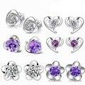 925-sterling-silver серьги Фиолетовые цветы сердце серьги стерлингов-серебро-ювелирные изделия день святого валентина серьги для женщин