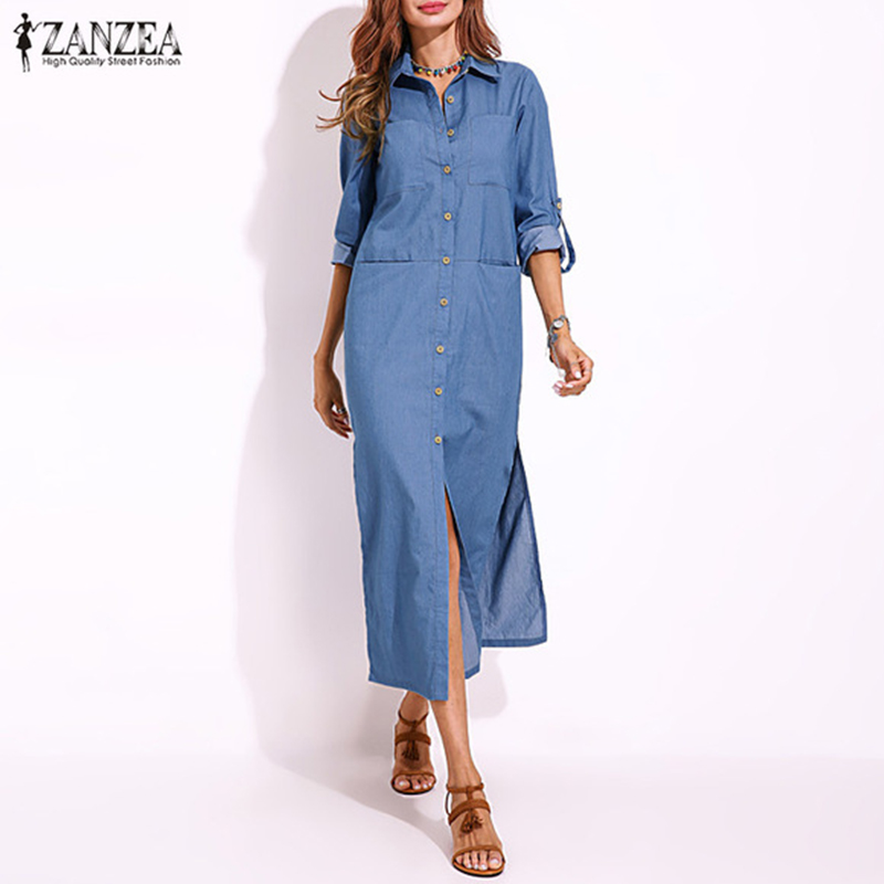 2018 ZANZEA Women Autumn Elegant Turn-down Collar Buttons Down Long Shirt Dress Casual Split Denim Blue Vestido Plus Size