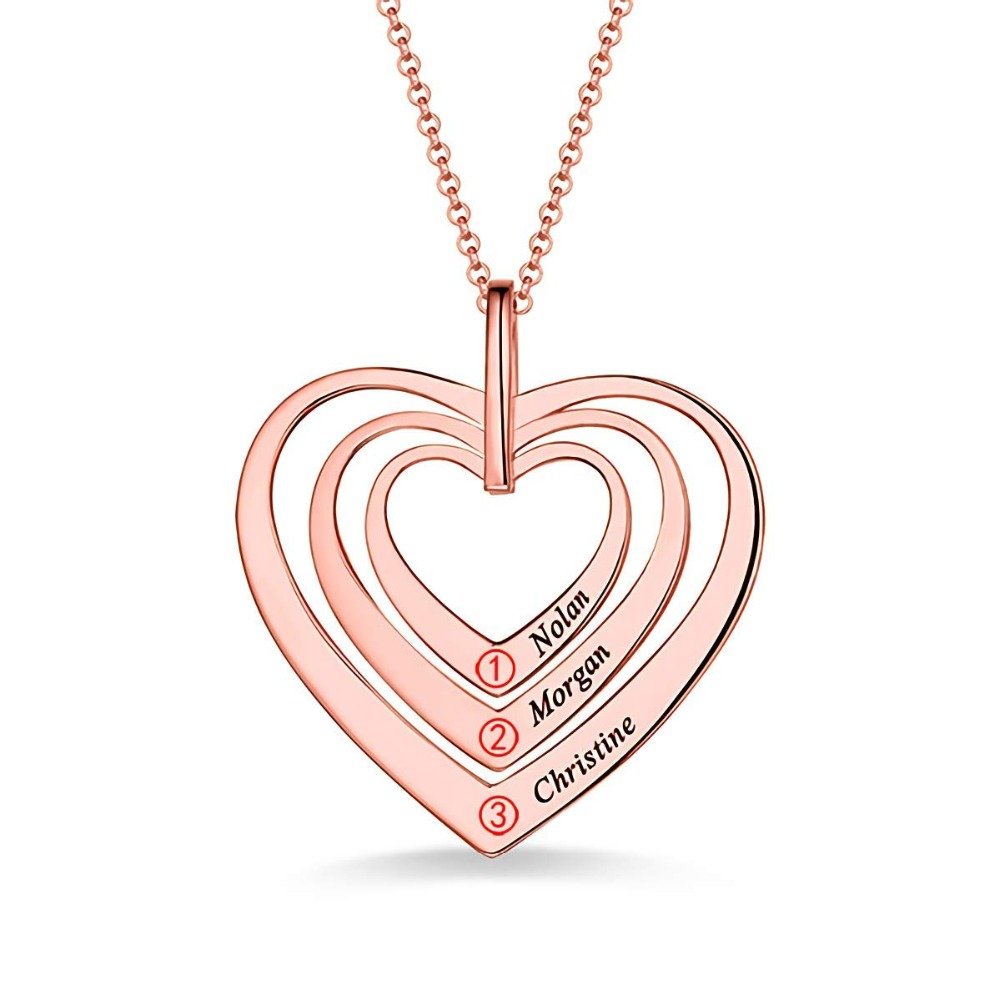 Amxiu Trois Noms Coeurs Collier 925 Sterling pendentifs en argent Graver Nom Collier Personnalisé Bijoux Pour Les Femmes Amant Cadeaux - 2