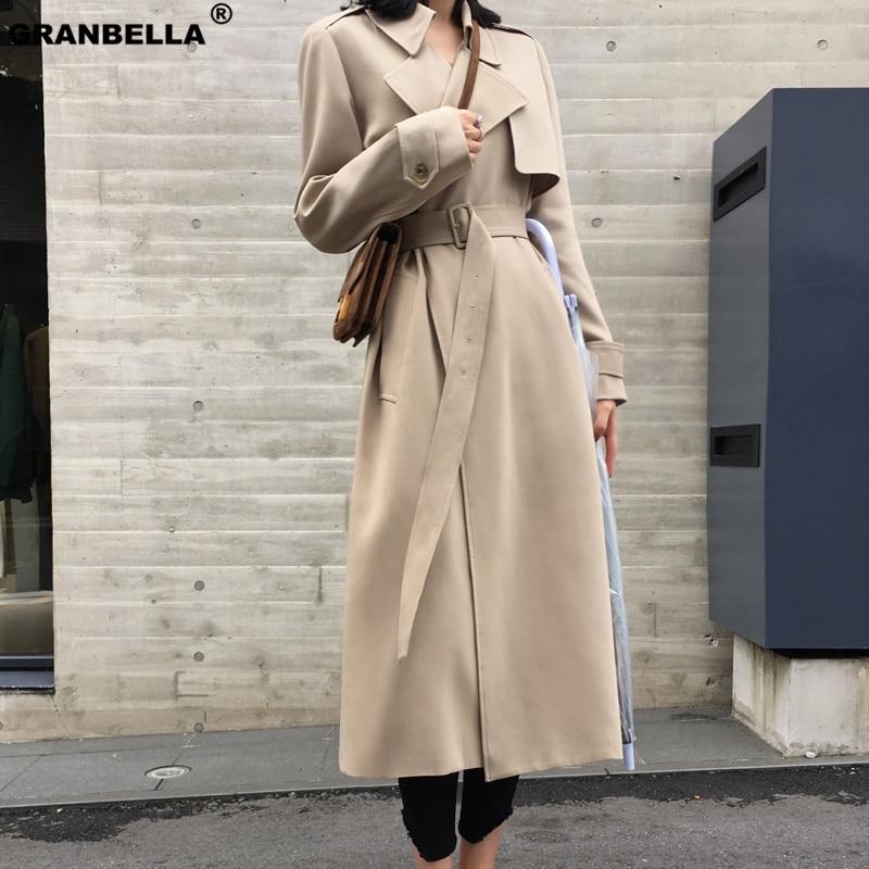 Демисезонный длинное Для женщин Свободные Тренч с поясом хаки и Черный Большие размеры корейский стиль стильная ветровка верхняя одежда