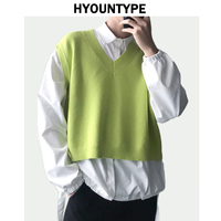Men Sleeveless Sweaters Vests Autumn Loose V Neck Knitted Vest Short Sweater 2018 Fashion Streetwear New Solid Color Crop Tops