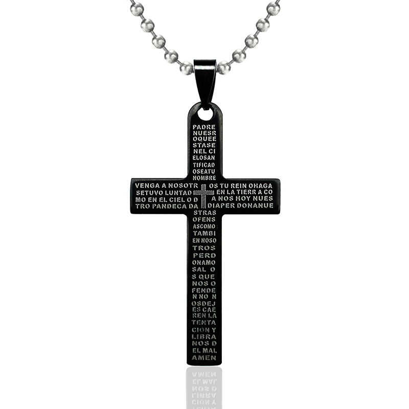 Free Chain Stainless Steel Bible Cross Pendant Necklace