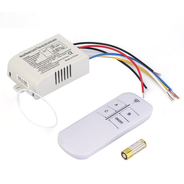 220V 3 Way ON/OFF Digital RF Remote Control Switch Wireless For ...