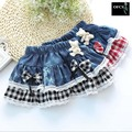 2017New Girls Summer Denim Bow Skirts Girls Printed Tutu Jeans Skirt Baby Girls Princess Party Skirts Kids Plaid Stripe Dot Saia