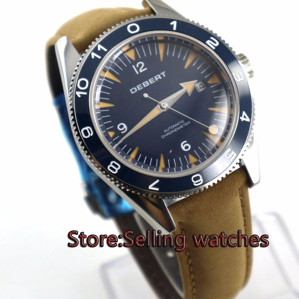 41mm debert blue deployment clasp sapphire glass miyota Automatic mens Watch