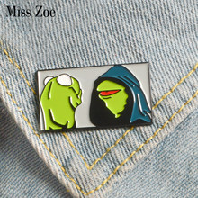 Kermit the Frog Enamel pin Muppet Show frog brooch Bag Clothes Lapel Pin Button Badge Cartoon Jewelry Gift for friends kids(China)