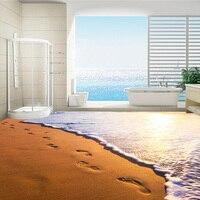Sunset Of Seaside Golden Sand Beach Footprint Mural For Bedding Room Floor Backdrop Custom PVC Self