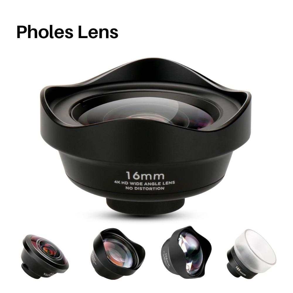 Pholes gran angular lente de teléfono 238 grados Fisheye lente Macro teleobjetivo lente móvil Zoom lentes de cámara para iPhoneX 8 7 más HTC