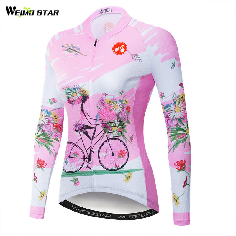 Weimostar Pink Cycling Jersey Women Long Sleeve Autumn Mountain Bike Clothing Pro Team mtb riding Bicycle Shirt Cycling Clothes