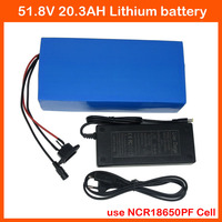 1000W 52V 20AH ebike battery pack 14S 52V Lithium ion battery AKKU NCR18650PF 2900mah cell 2A charger