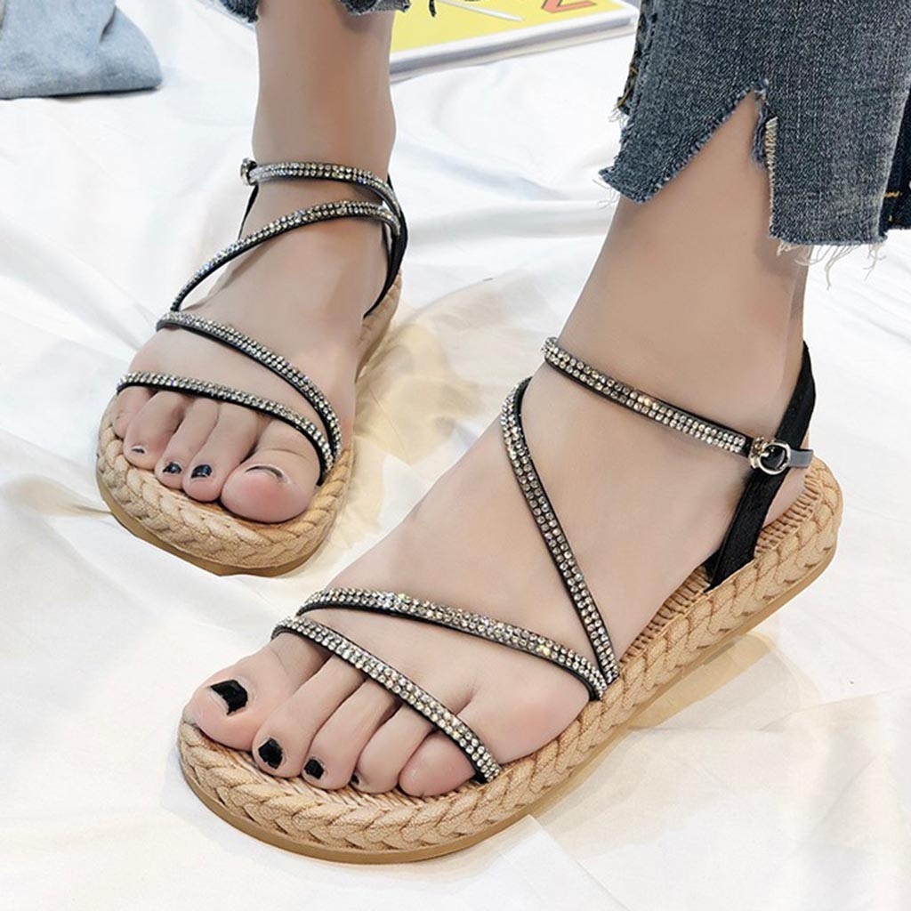 SAGACE New Summer Women's Thick-Soled Open-Toe Sandals Crystal Flat Casual Sandals Leisure Female Ladies Roman Beach Shoes Jul3(China)
