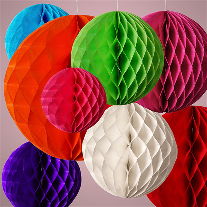 Buy 25cm 10inch hanging round honeycomb balls of tissue paper lantern flowers - Hanging paper balls decorations ...