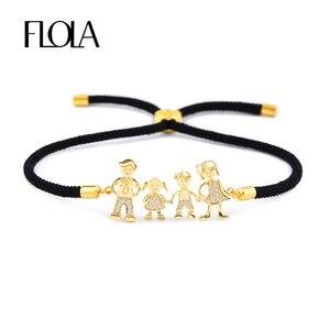 FLOLA Family Black Rope Gold Bracelets Zircon Dad Mum Boy Bracelet Kid Adjustable Black String Bracelet pulseiras famila brtb07(China)