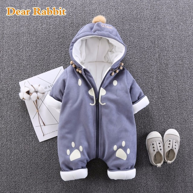 61221b4a68bc 2018 new born Cotton One piece Thick Hooded Baby Newborn jumpsuit ...