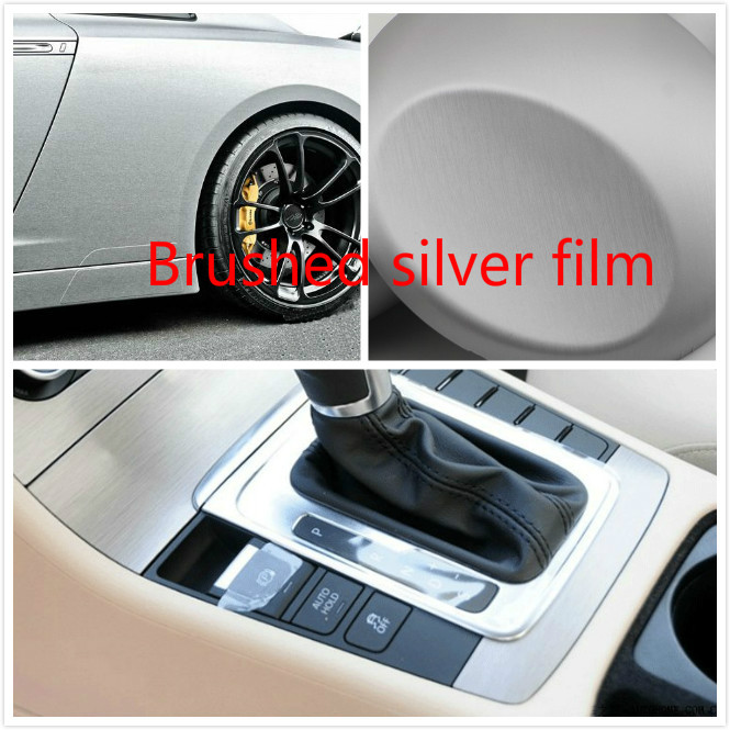 50cm 152 Cm Car Styling Carbon Fiber Adhesive Silver Vinyl Waterproof Wire Drawing Sticker