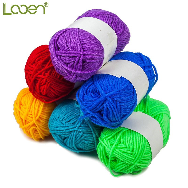 Looen DIY Hand Knitting Yarns For Crocheting Soft Yarns Baby Cotton Yarns Mixed  6pcs  In 1 Pack Random Colors Beautiful Yarns
