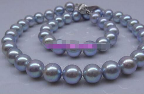 Livraison gratuite haute qualité AAA + 9-10mm naturel tahitien gris perle collier 14 fermoir