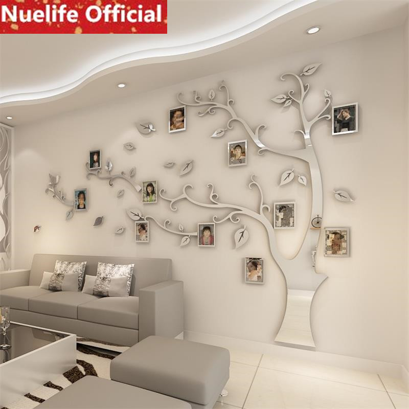 Large  Mirror  Tree Acrylic Mirror Stickers Living Room Bedroom Store Office TV Sofa Background Decoration Wall Stickers