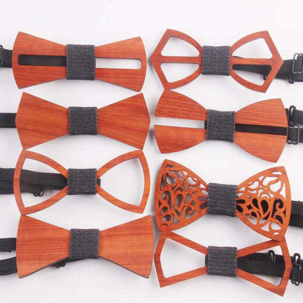 1722b53dfe4b 2018 Birthday Christmas Gift Wooden Bowtie Cravat Classic New Handmade  Wedding Party Butterfly Suit Hollow Wood