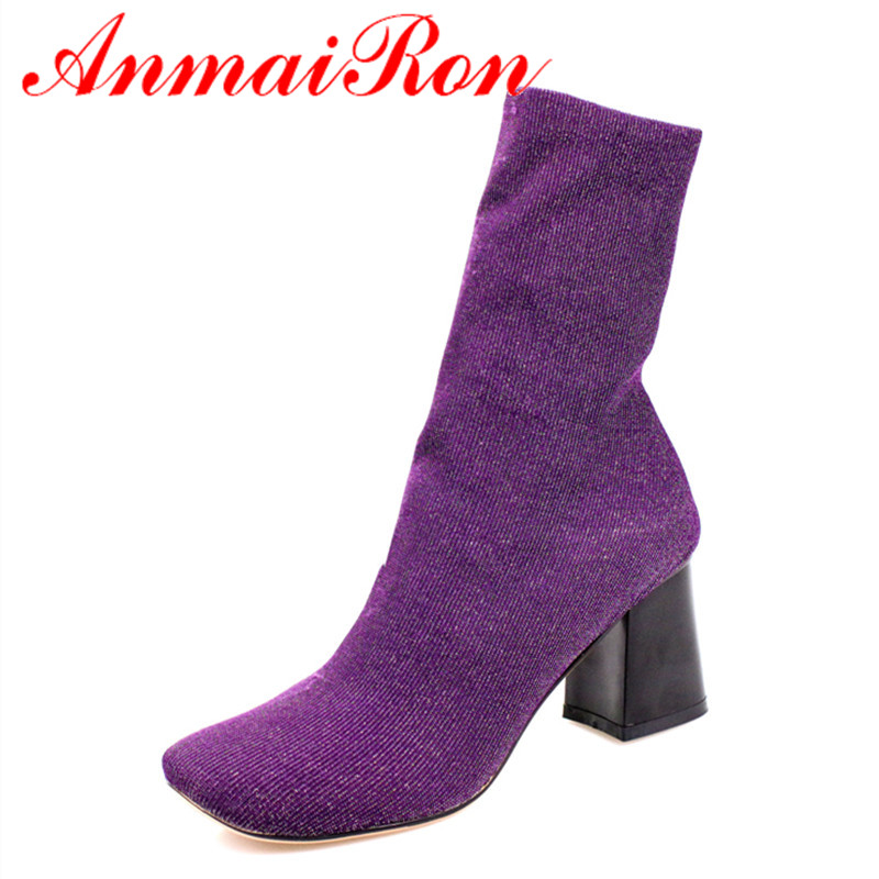 ANMAIRON Ankle Boots for Women Platform Shoes Fashion Autumn and Winter Boots Slip-on Round Toe Large Size Shoes Woman