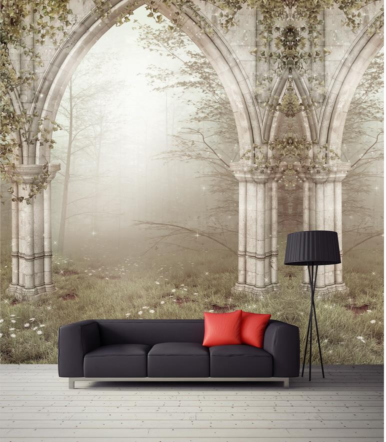 Custom Photo Wallpaper Large 3D sofa TV Background Wallpaper Mural Wall Roman column space 3D Mural Wallpaper