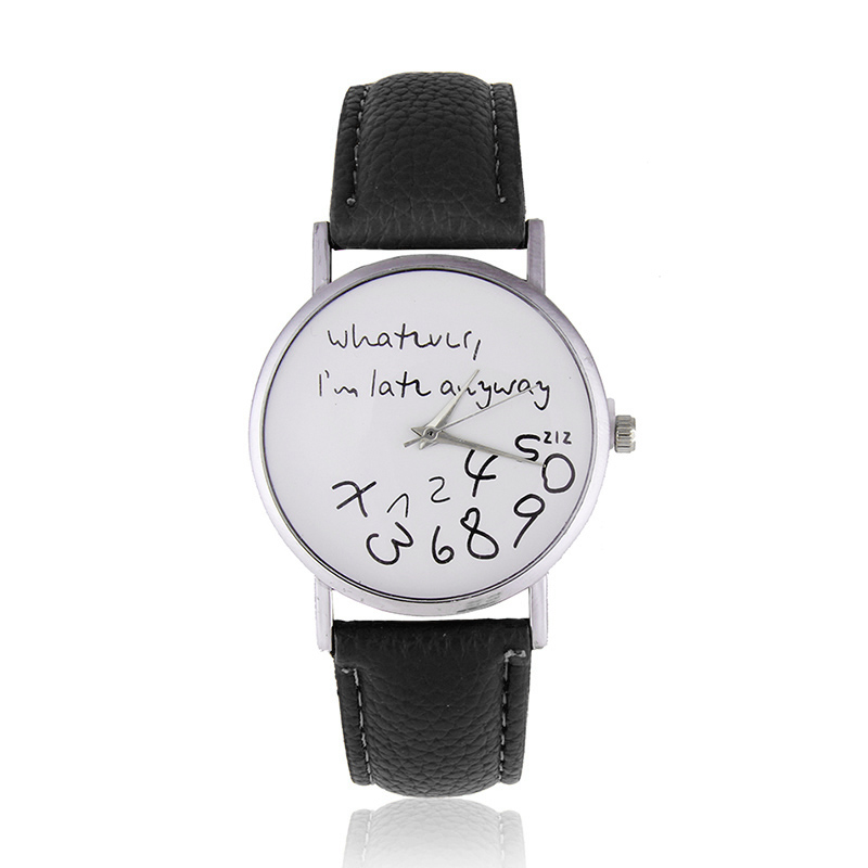 Who Cares I'm Late Anyways Stylish Quartz Wrist Watch Pu Leather Anyway LL