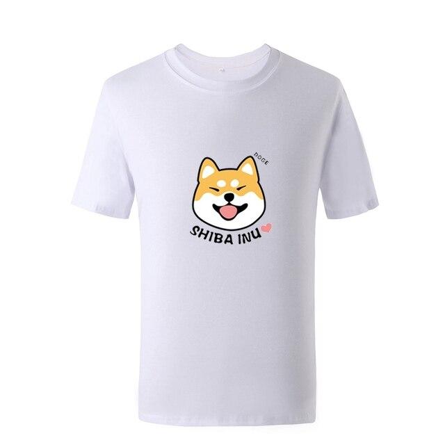 Camisa Masculina Bonito da Cópia Do Cão Shiba inu Homens Camisetas de Verão Tops Tees Anime T Shirt Homens O-pescoço de Algodão Tshirts Moda Dropship