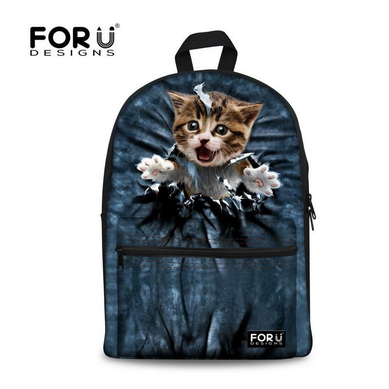 FORUDESIGNS Dámský batoh 3D Zvířecí batohy Cat Tisk Školní batoh pro dívky Studenti Dětský školní notebook batoh