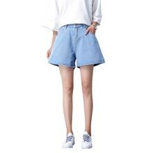 купить!  женские короткие джинсовые брюки летние 2019 высокой талией горячие продажи широкие ноги открытия