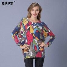 SFFZ Női pulóver Graffiti művészeti nyomtatás Kötött pulóver 2018 Casual Plus Size divatos pulóver a nőknek Jumper Camisola feminina