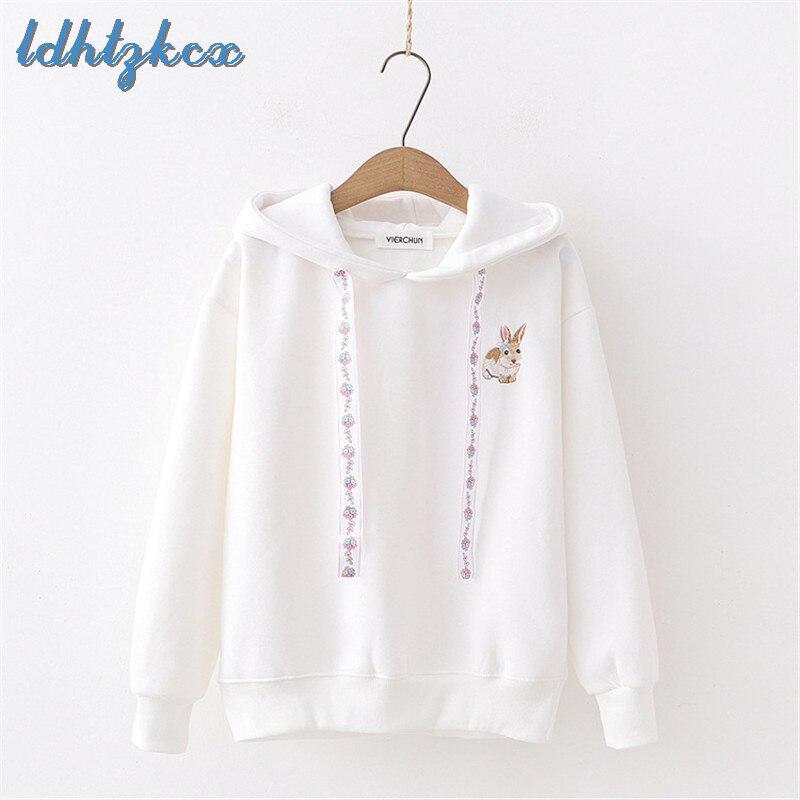 Hoodies Women Pink Long Sleeve Hooded Sweatshirt 2018 Autumn Winter Korean New Sweet Floral Rabbit Embroidery Loose Hoodies LD66