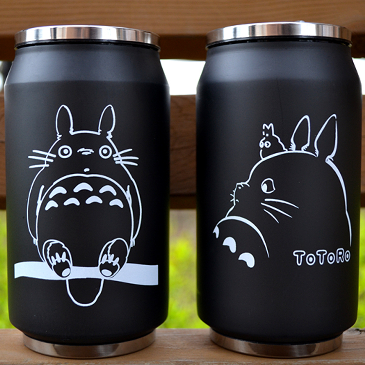 cartoon vacuum thermos mug my neighbor totoro can of cola stainless steel anime figures <font><b>cup</b></font> with Japanese hayao miyazaki design