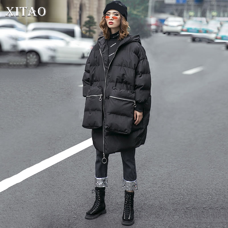 [XITAO] 2018 Winter Europe Fashion New Arrival Women Full Sleeve Casual Long Thick Solid Zipper Pocket Casual   Parka   Coat LYH1446