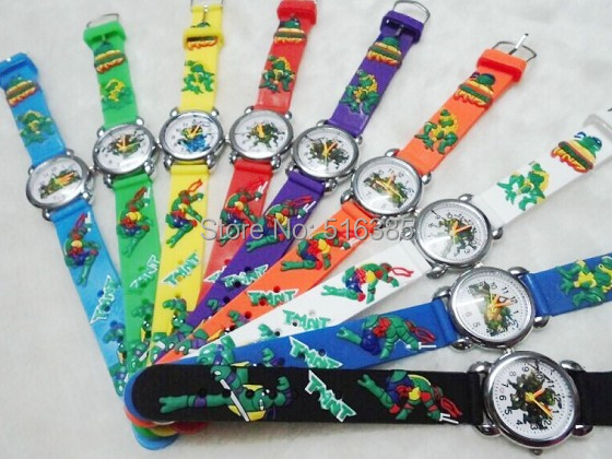 10pcs/lot NEW 3D Cartoon TMNT silicone Children kids and boys Watch Students Wri