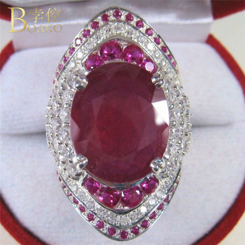 ethnic red stone ring hot sale princess ring big crystal