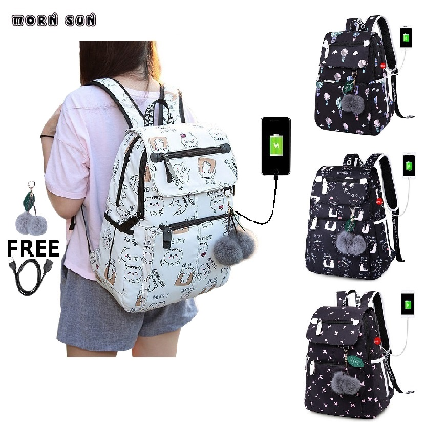 Girl Travel Backpack College Waterproof Usb Charging Student Backpacks Computer   Bags Women Fashion Leisure Bag Bolsa Mochila